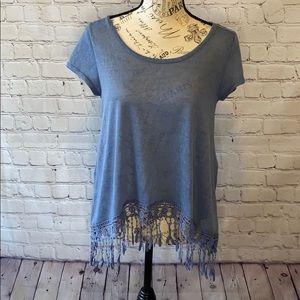 Francesca's Dina Be crocheted bottom blue shirt S